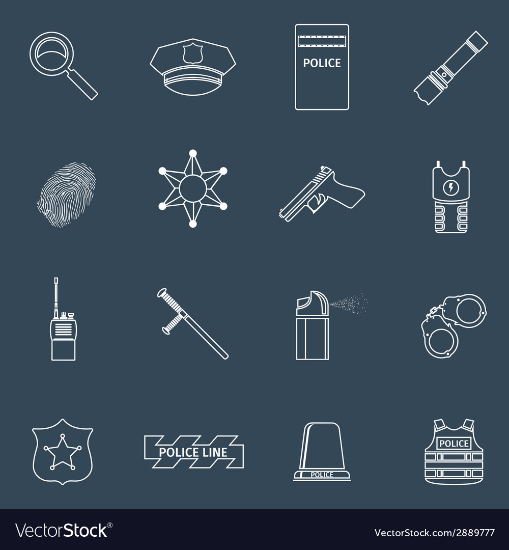 Police icons outline vector | Price: 1 Credit (USD $1)