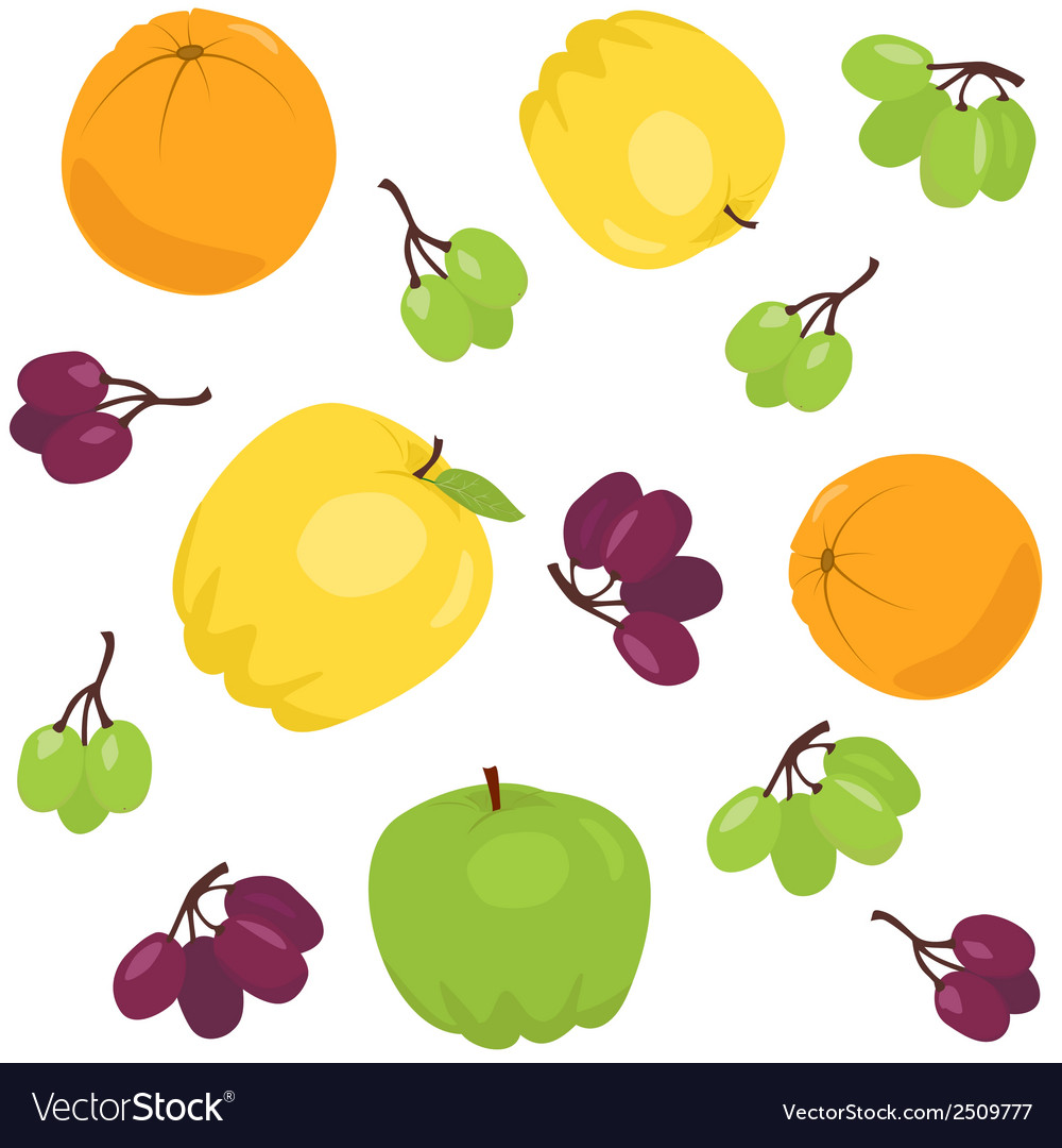Seamless pattern with apples and grapes vector | Price: 1 Credit (USD $1)