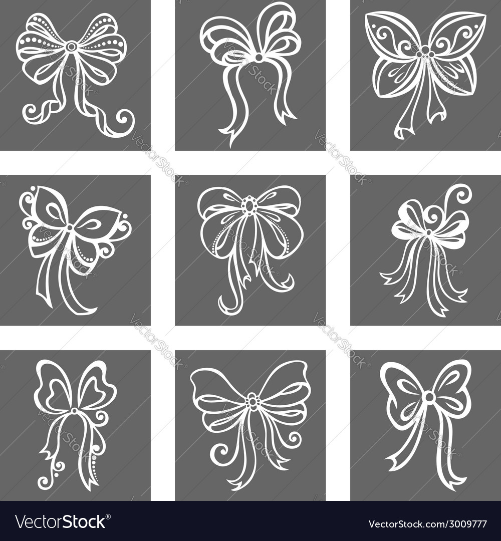 Set of ornamental holiday bows vector | Price: 1 Credit (USD $1)