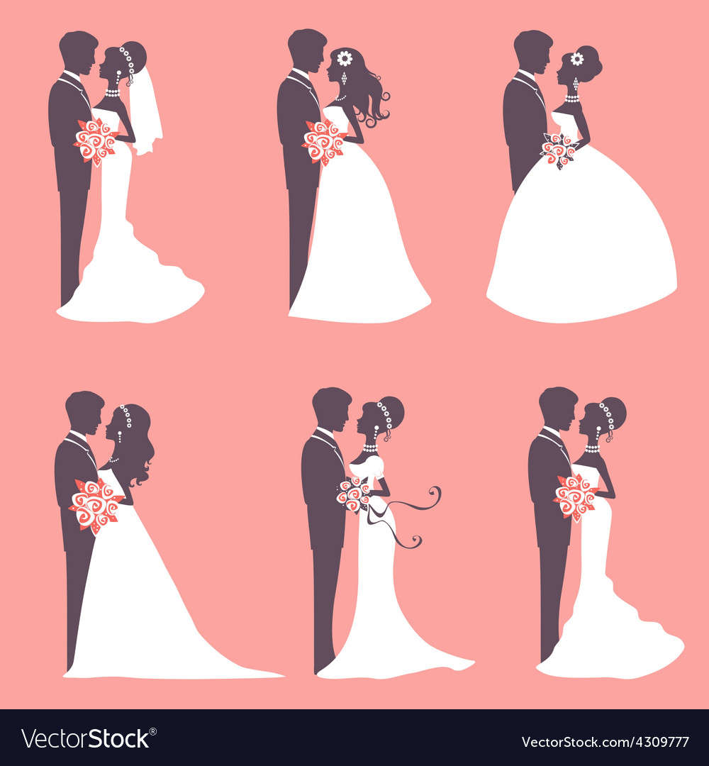 Six wedding couples vector | Price: 1 Credit (USD $1)