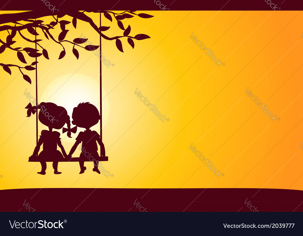 Sunset silhouettes of boy and girl vector | Price: 1 Credit (USD $1)