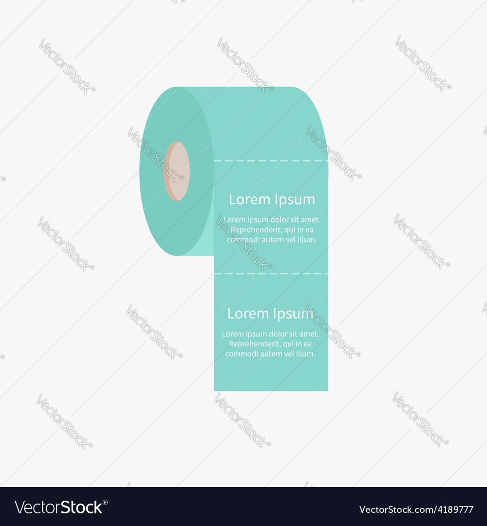 Toilet paper roll icon with dash line flat design vector   Price: 1 Credit (USD $1)