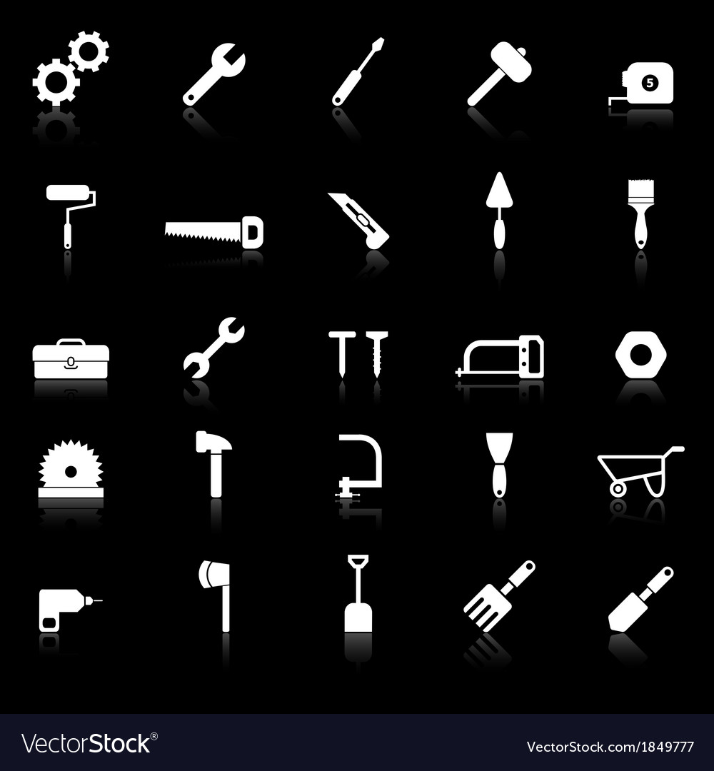 Tool icons with reflect on black background vector | Price: 1 Credit (USD $1)