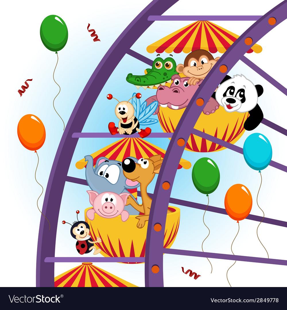 Animals on ferris wheel vector | Price: 1 Credit (USD $1)