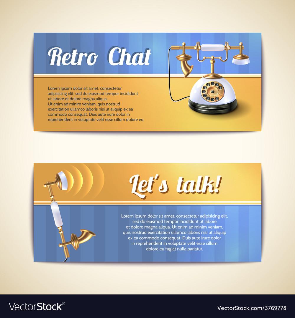 Antique telephones horizontal banners vector | Price: 1 Credit (USD $1)