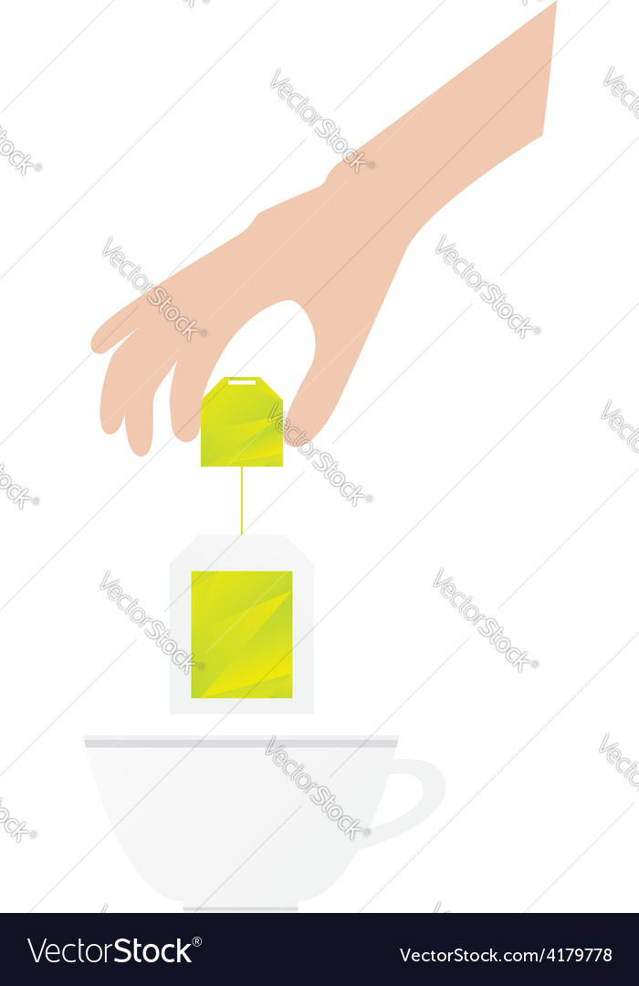 Human hand is holding tea bag vector | Price: 1 Credit (USD $1)