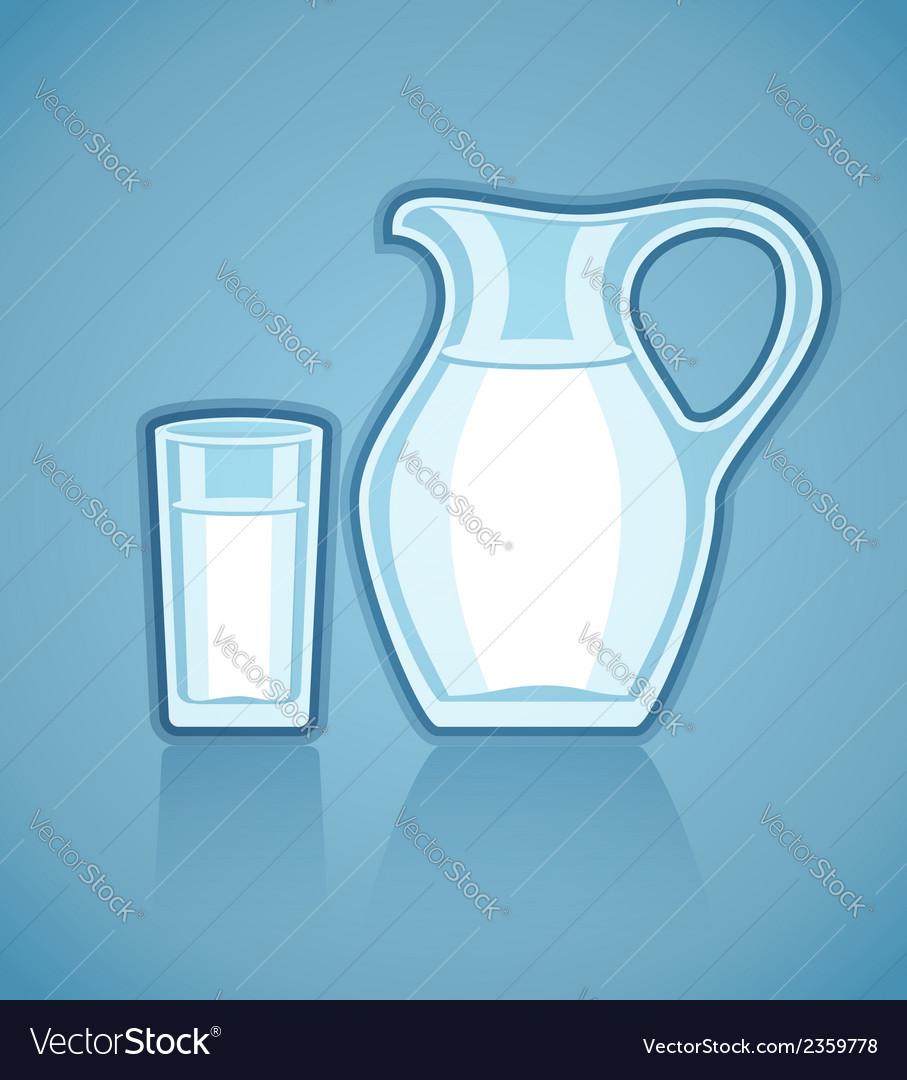 Jug and full glass with milk vector | Price: 1 Credit (USD $1)