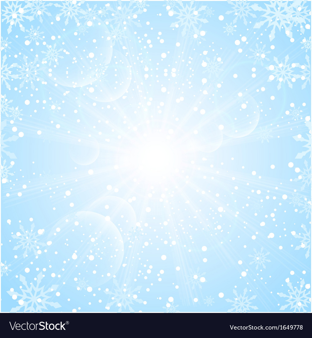 Merry christmas background with sun snowflakes vector | Price: 1 Credit (USD $1)