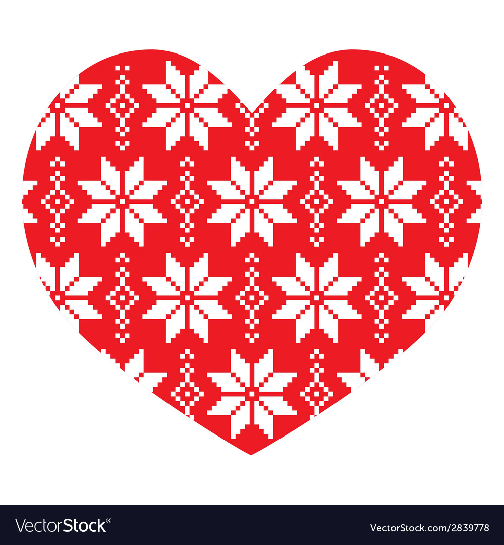 Nordic winter red heart pattern vector | Price: 1 Credit (USD $1)