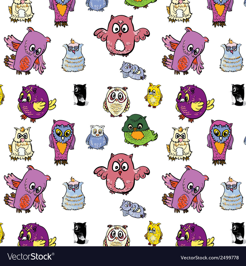 Seamless pattern set of owl vector | Price: 1 Credit (USD $1)