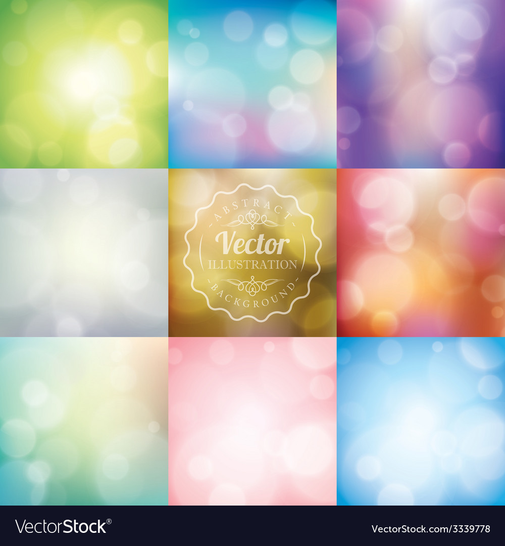 Set of abstract blurred lights bokeh background vector | Price: 1 Credit (USD $1)