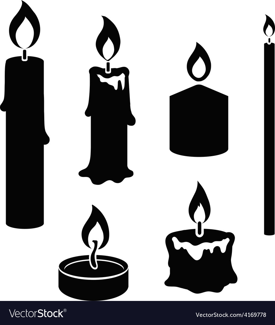 Set of black and white silhouette burning candles vector | Price: 1 Credit (USD $1)