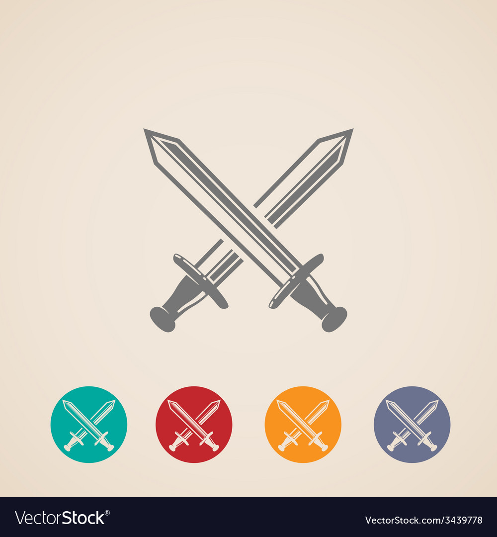 Set of crossing swords icons fight concept vector | Price: 1 Credit (USD $1)