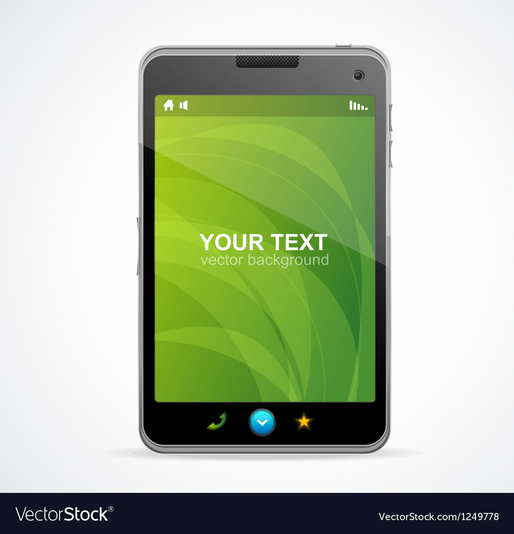 Smart phone with green screen and text vector | Price: 3 Credit (USD $3)