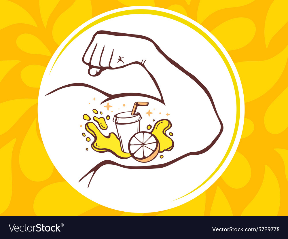 Strong man hand with icon of fresh fruit vector | Price: 1 Credit (USD $1)
