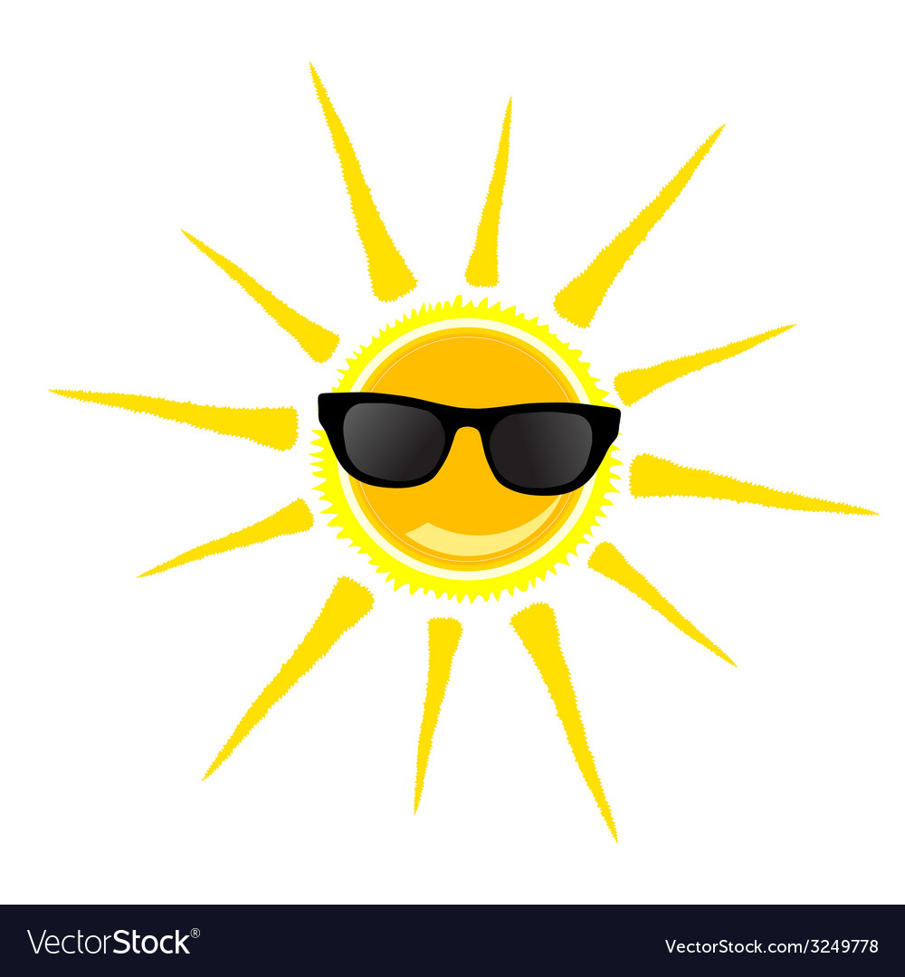 Sun with black glasses vector | Price: 1 Credit (USD $1)
