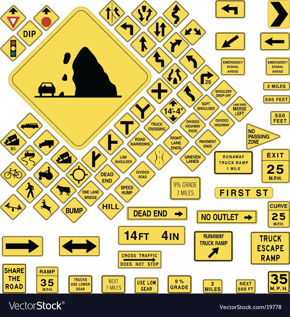 Usa warning road signs vector   Price: 1 Credit (USD $1)