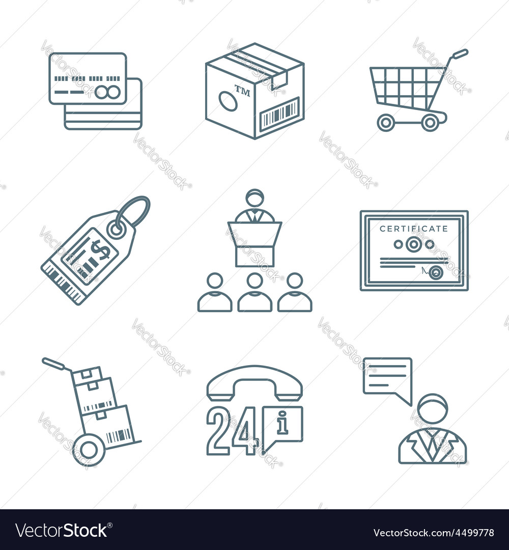 Various dark color outline business distribution vector | Price: 1 Credit (USD $1)