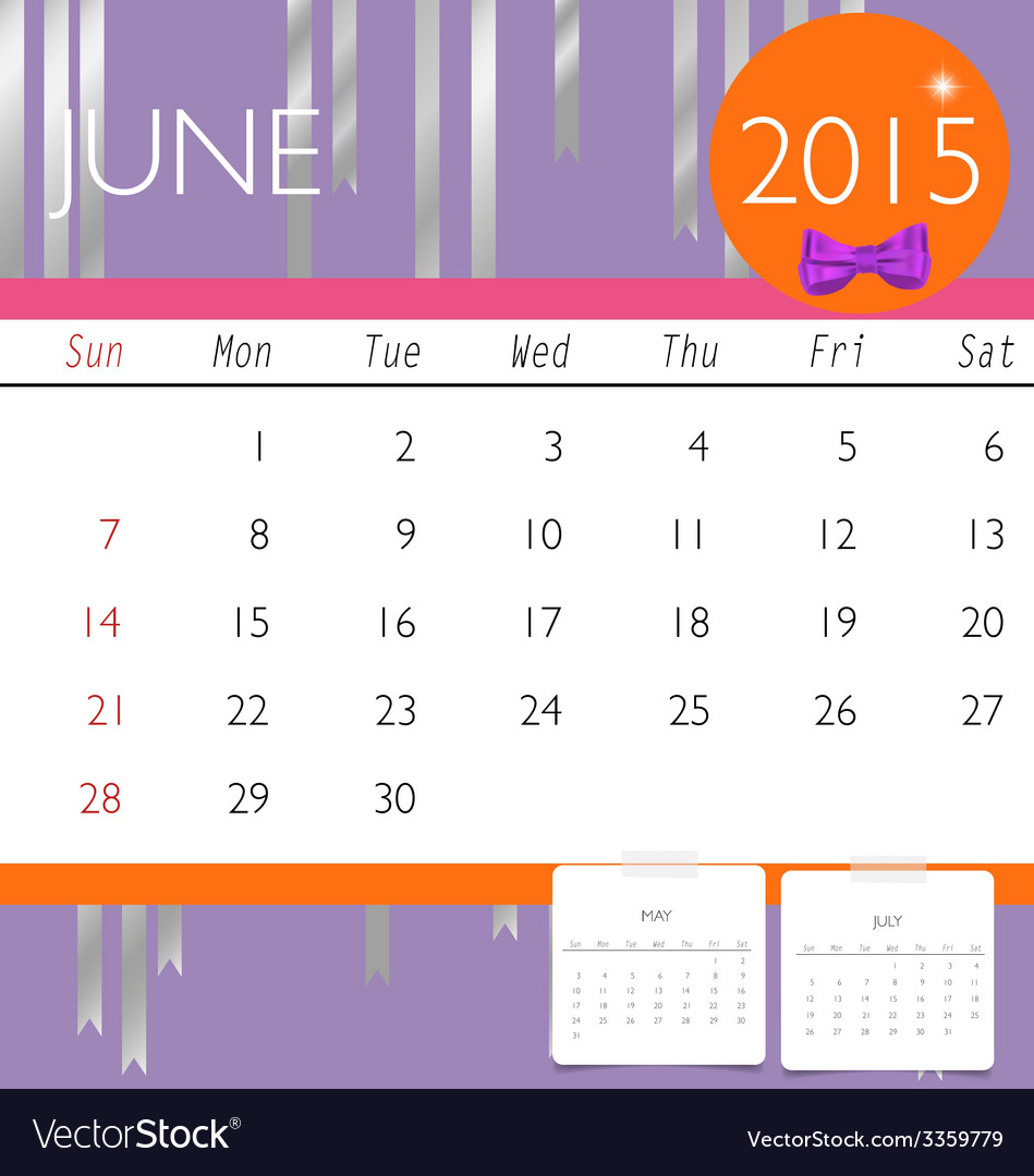 2015 calendar monthly calendar template for june vector | Price: 1 Credit (USD $1)