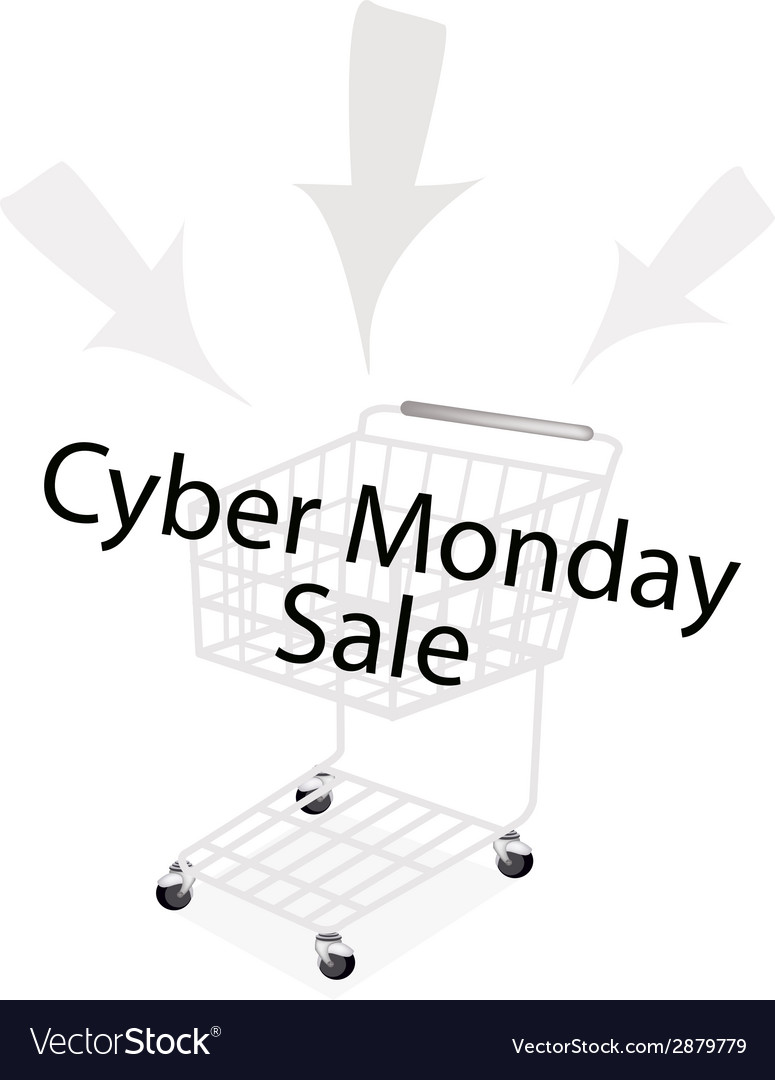A shopping cart on cyber monday promotion vector | Price: 1 Credit (USD $1)