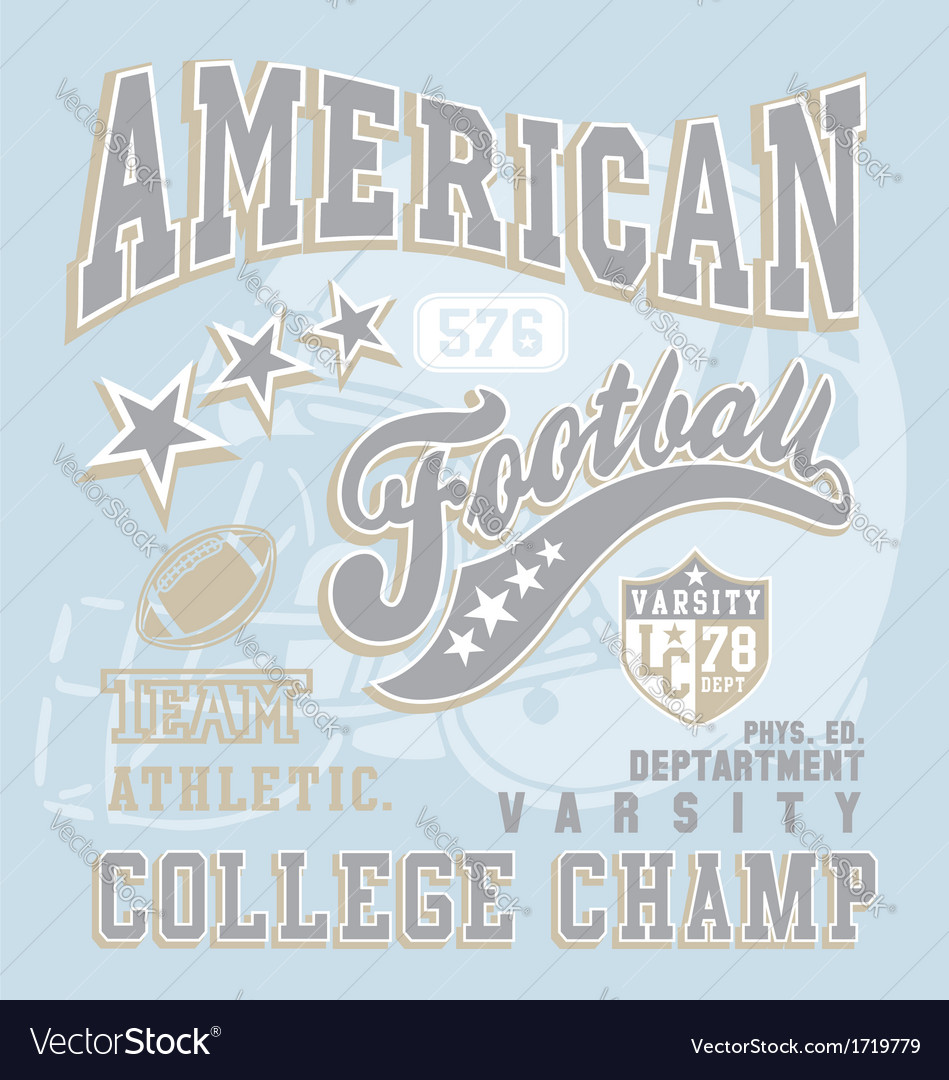 American football college champ vector | Price: 1 Credit (USD $1)