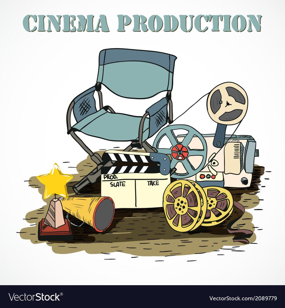 Cinema production decorative poster vector   Price: 1 Credit (USD $1)