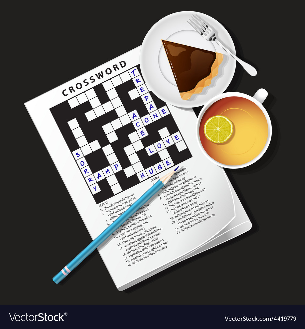 Crossword game mug of tea and pie vector | Price: 1 Credit (USD $1)