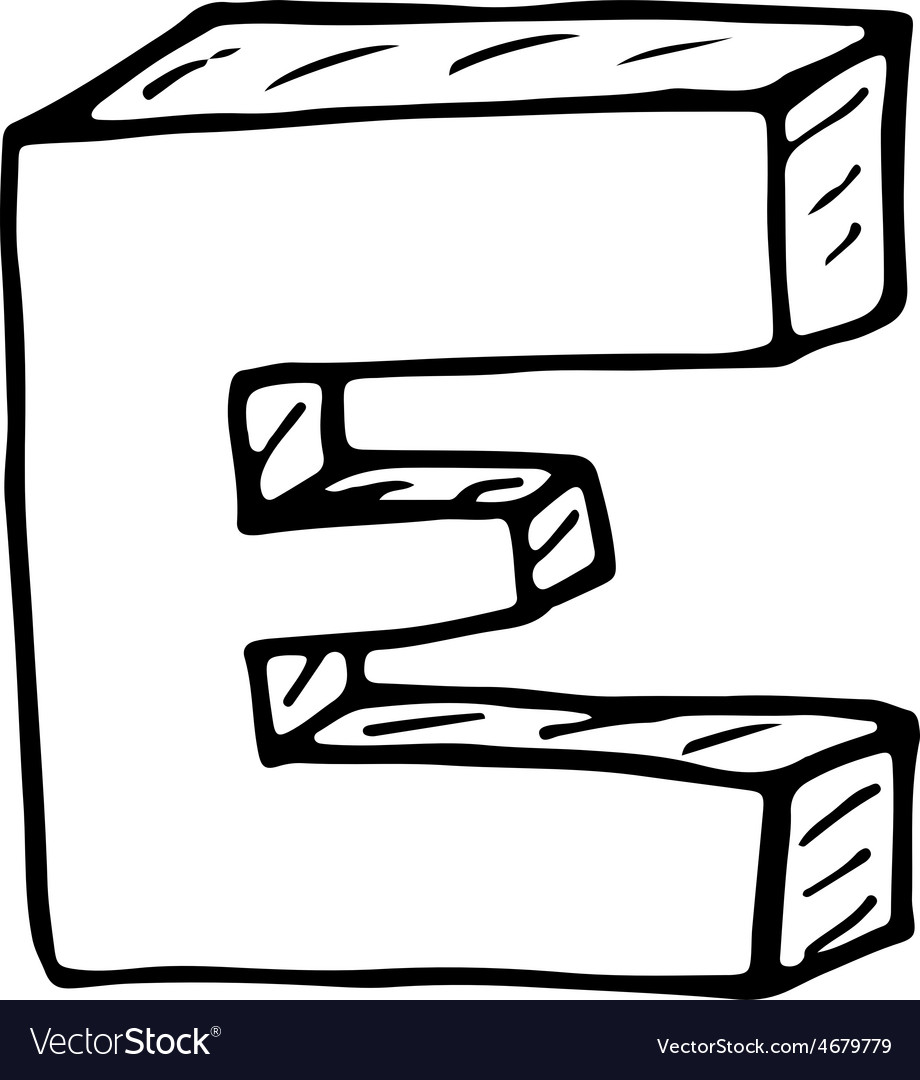 English alphabet - hand drawn letter e vector | Price: 1 Credit (USD $1)