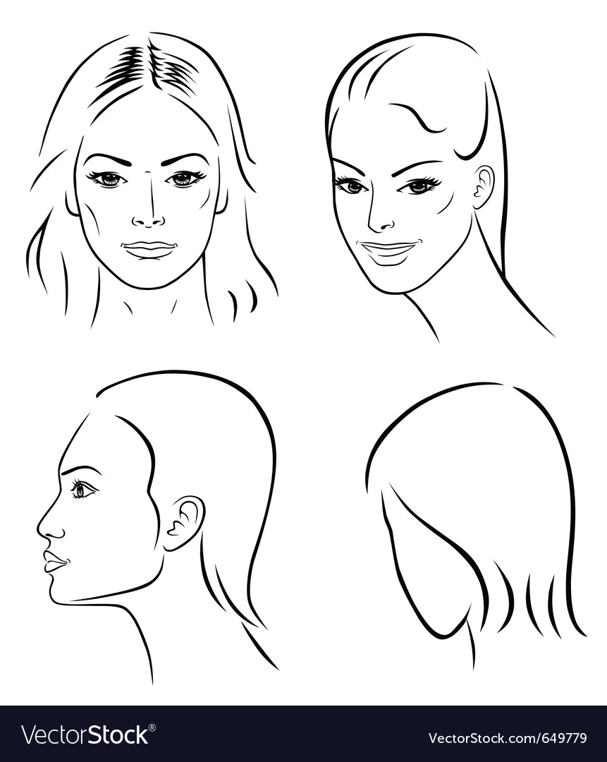 Four woman outline faces vector | Price: 1 Credit (USD $1)