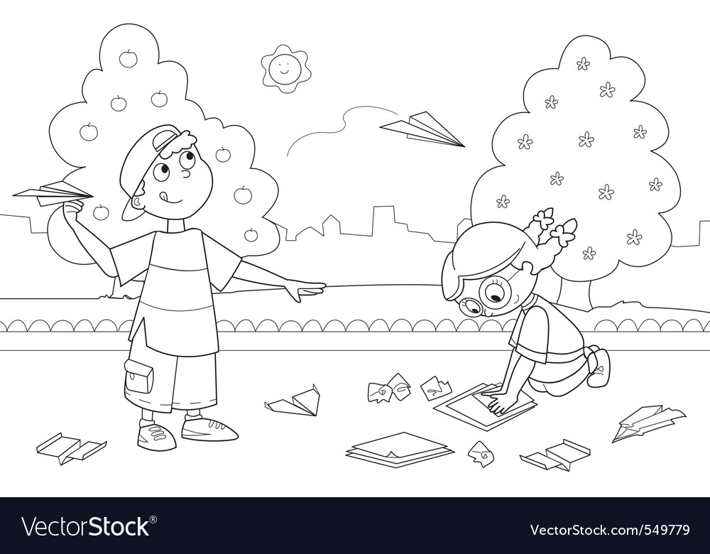 Kids playing with paper airplanes vector   Price: 1 Credit (USD $1)