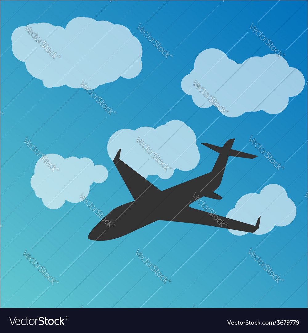 Plane silhouette in the sky vector | Price: 1 Credit (USD $1)
