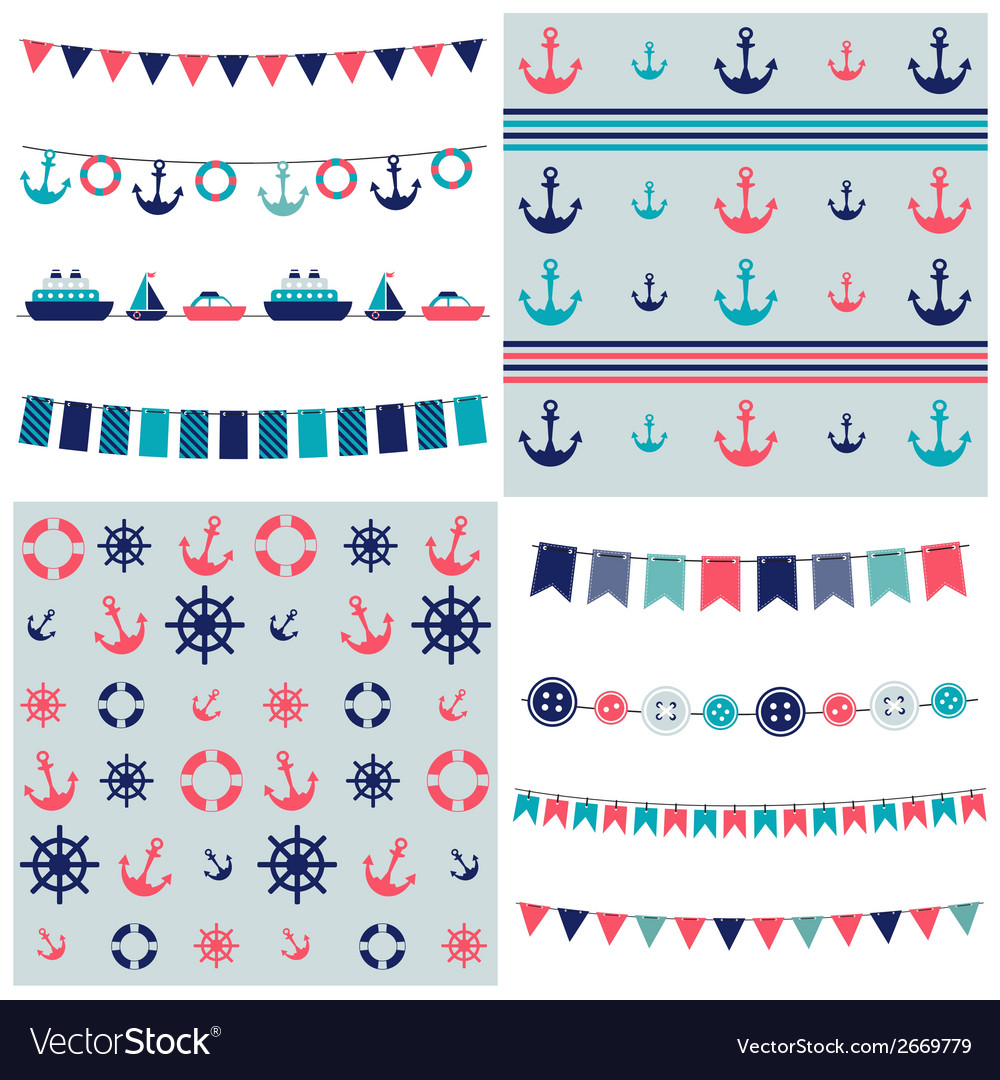 Sea theme garland and patterns vector | Price: 1 Credit (USD $1)