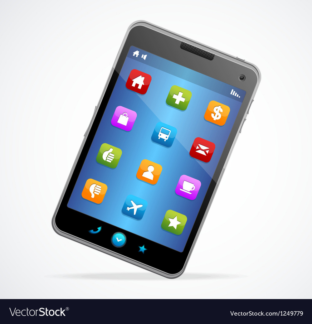 Smart phone with blue screen and icons vector | Price: 3 Credit (USD $3)