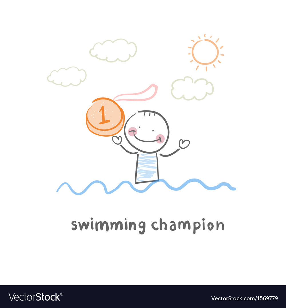 Swimming champion vector | Price: 1 Credit (USD $1)