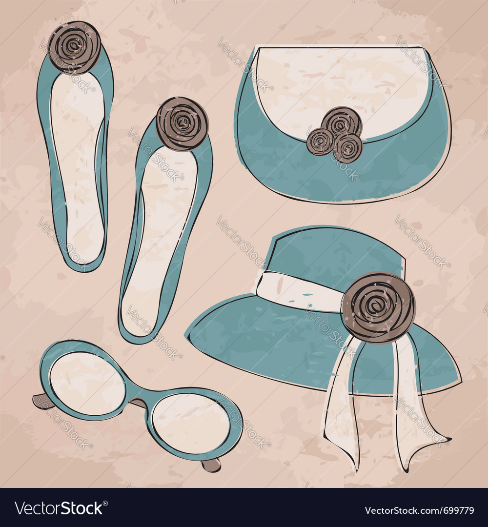 Vintage fashion set vector | Price: 1 Credit (USD $1)
