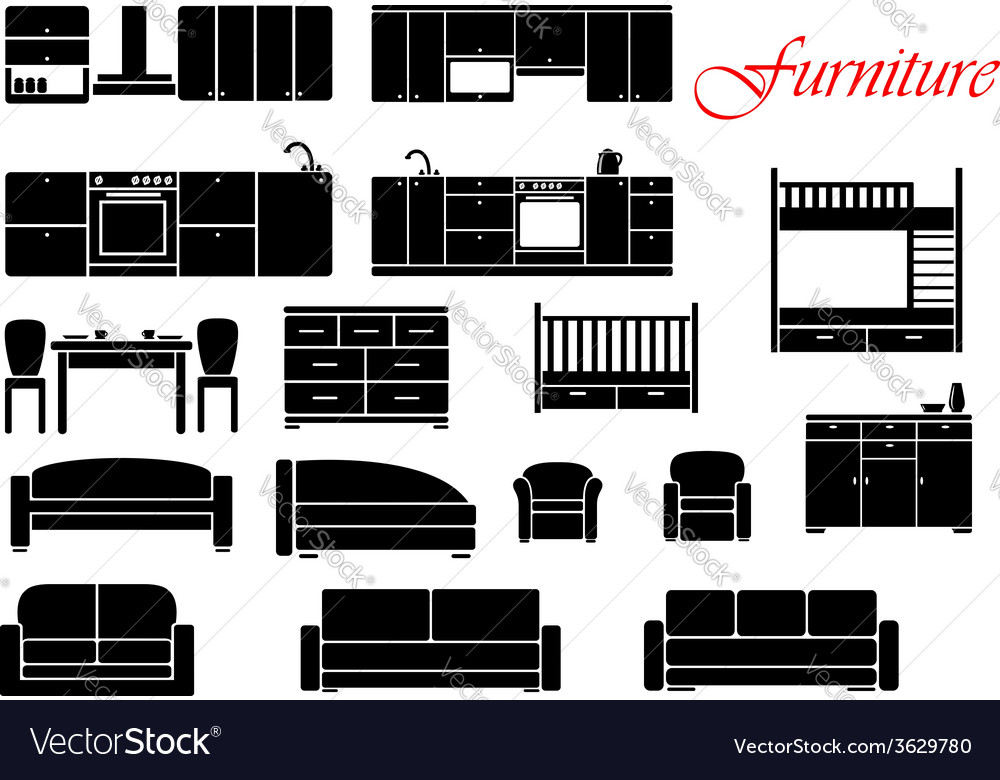 Assorted home furniture set vector | Price: 1 Credit (USD $1)