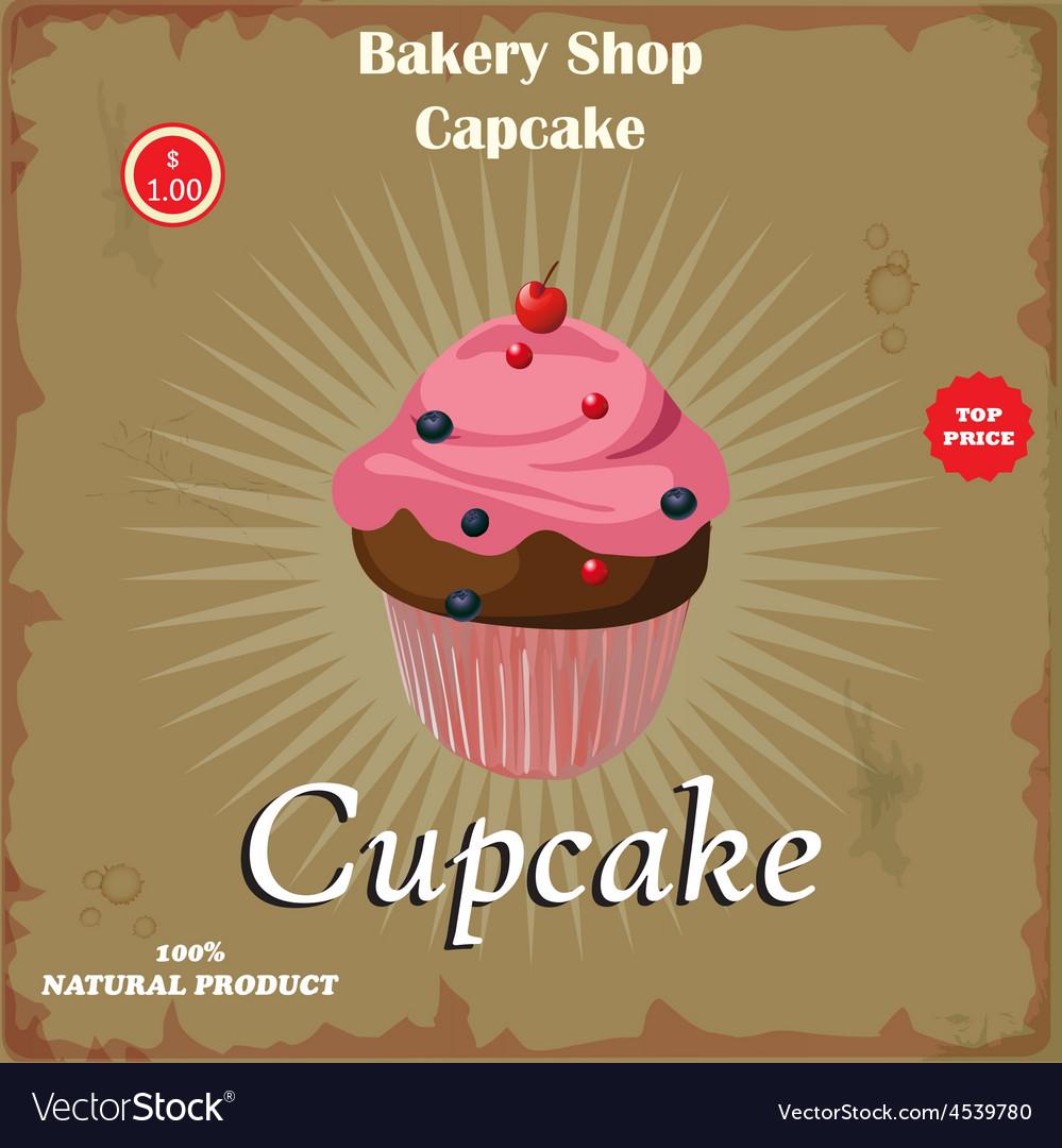 Cake in retro style vector   Price: 1 Credit (USD $1)