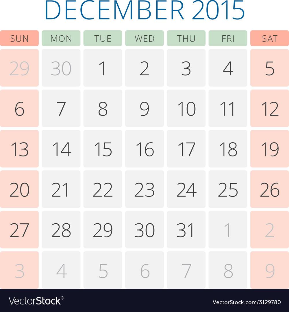 Calendar 2015 december design template vector | Price: 1 Credit (USD $1)
