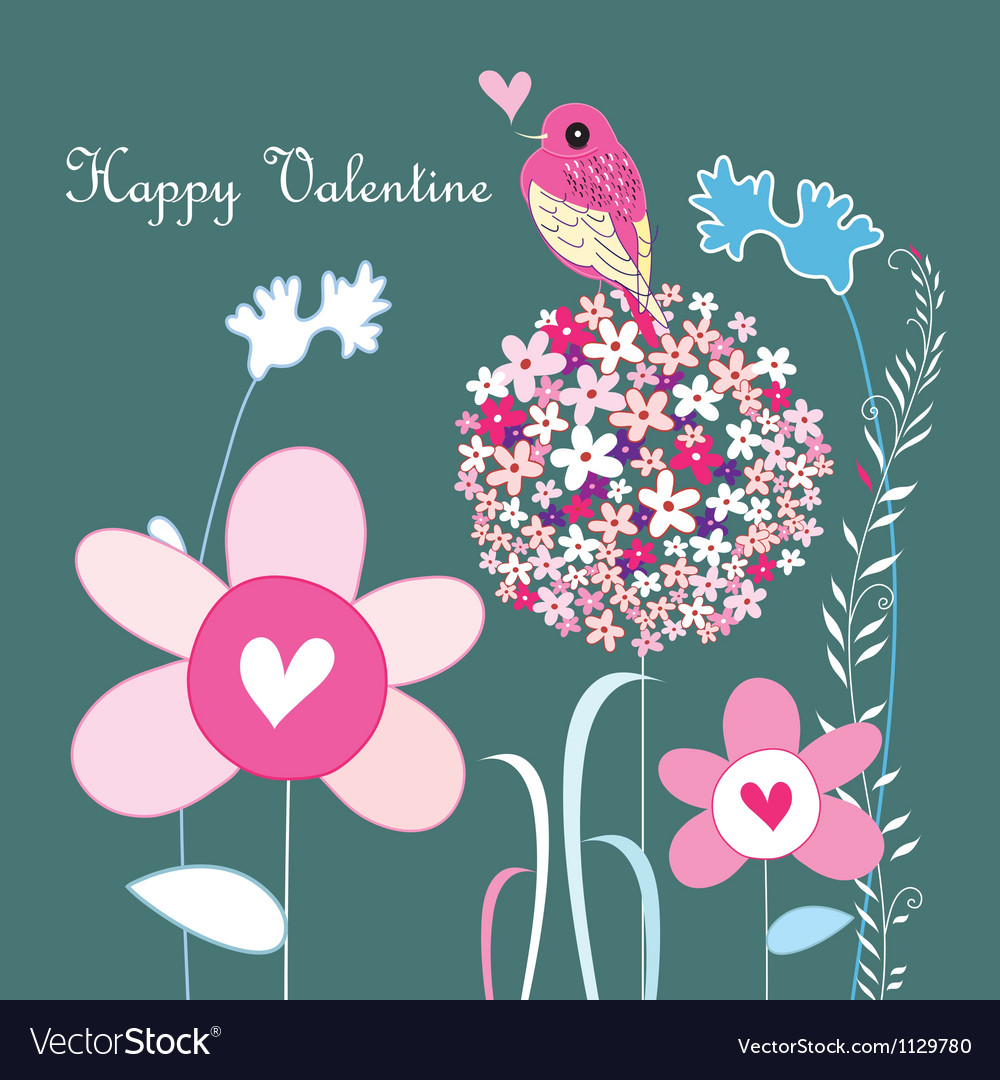 Flowers and love bird vector | Price: 1 Credit (USD $1)