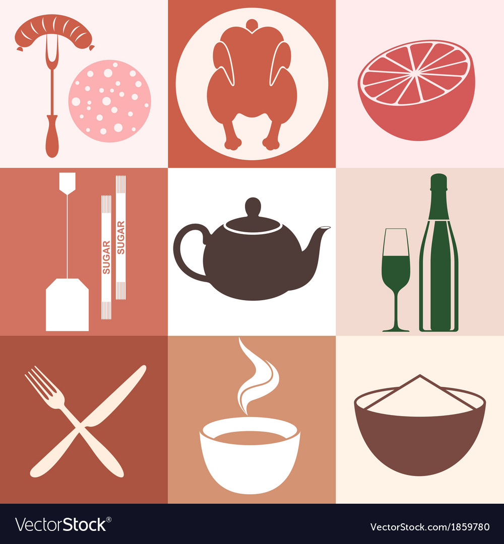 Food icon set vector | Price: 1 Credit (USD $1)