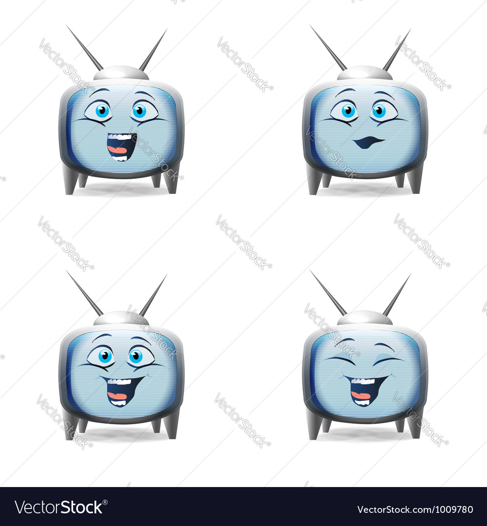 Funny cartoon retro tv character mimics vector | Price:  Credit (USD $)