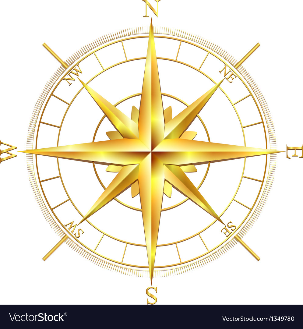 Golden compass rose vector | Price: 1 Credit (USD $1)