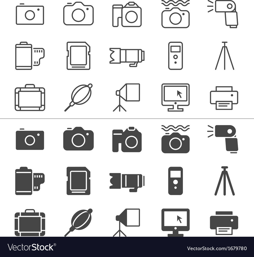 Photography thin icons vector | Price: 1 Credit (USD $1)