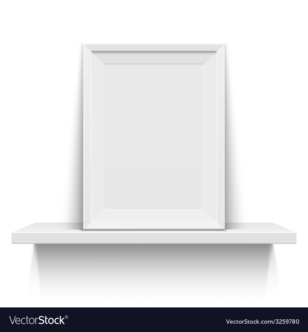 Realistic picture frame on white shelf vector | Price: 1 Credit (USD $1)