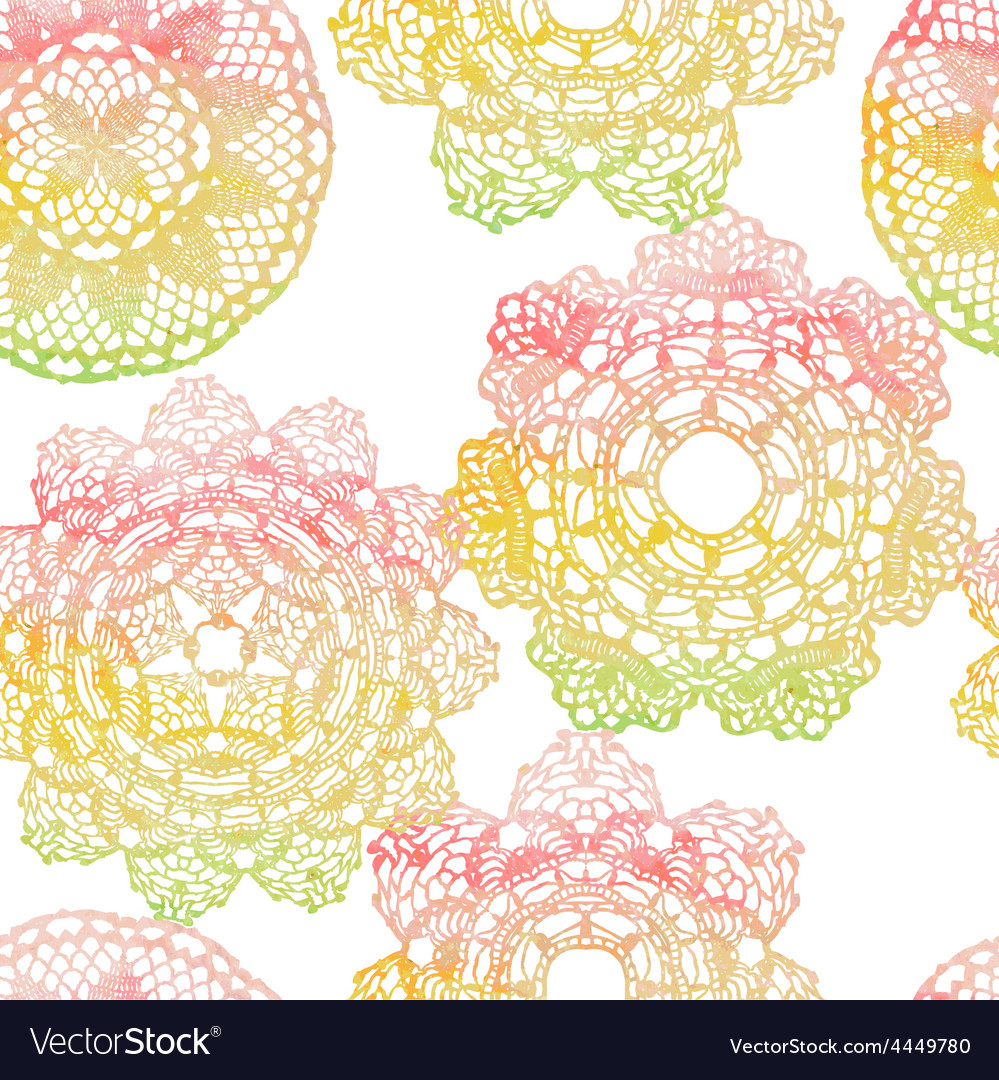 Seamless pattern elegant lacy watercolor doilies vector | Price: 1 Credit (USD $1)