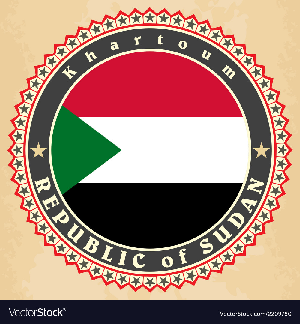 Vintage label cards of sudan flag vector | Price: 1 Credit (USD $1)