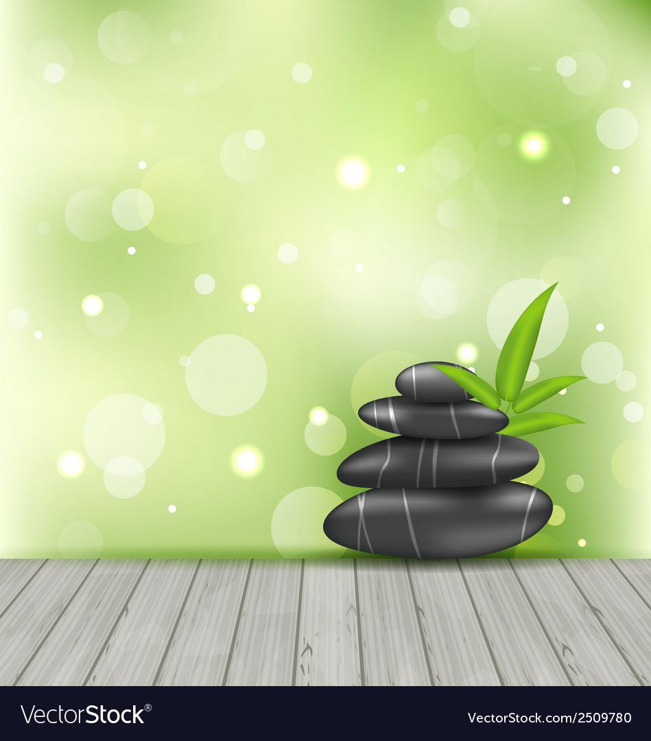 Zen stones on the wood texture meditative oriental vector | Price: 1 Credit (USD $1)