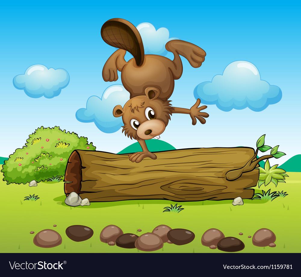 A playful beaver vector | Price: 1 Credit (USD $1)