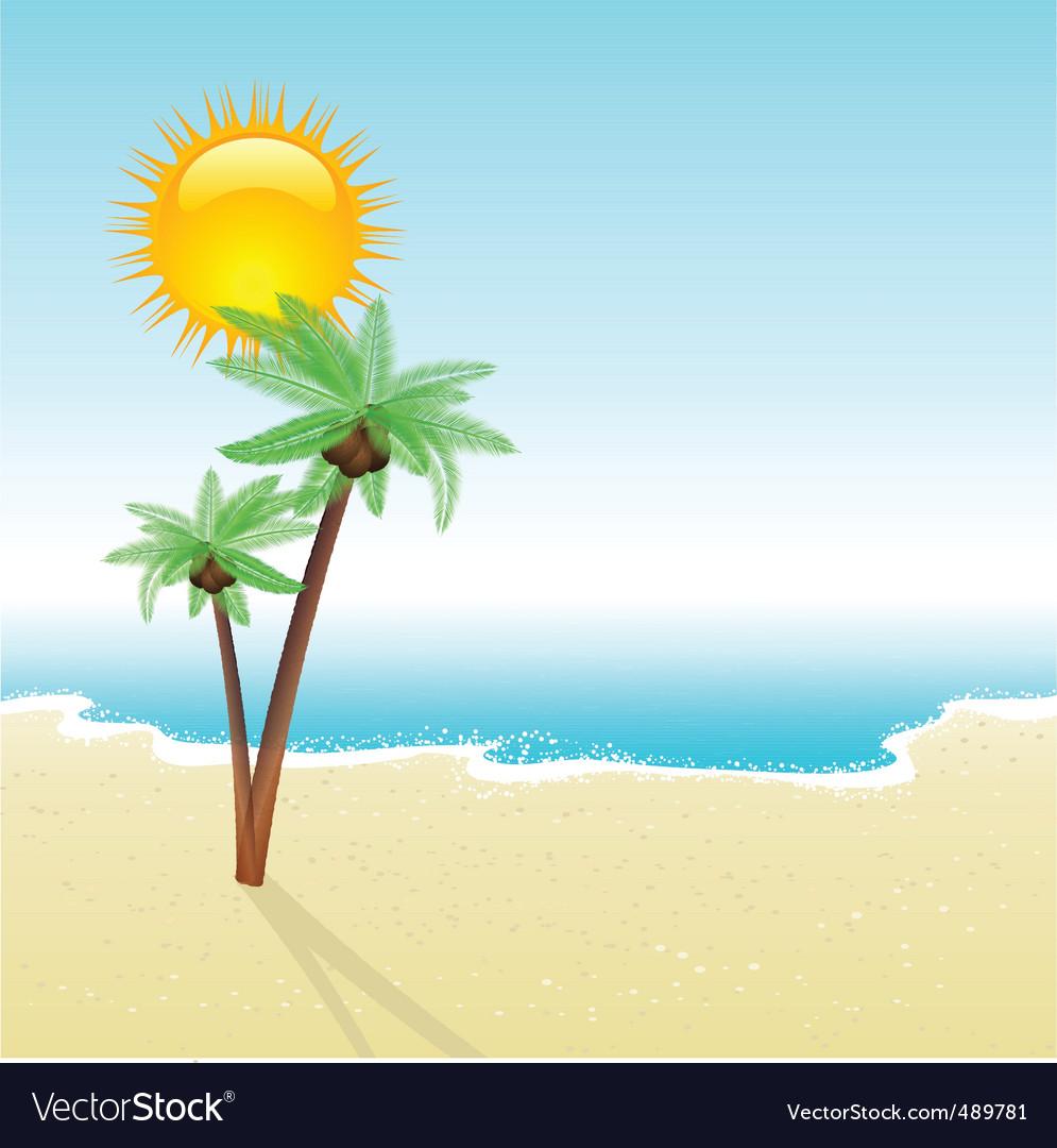 Beach landscape vector | Price: 1 Credit (USD $1)