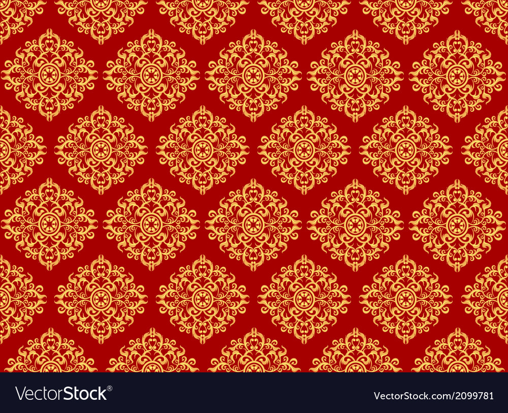 Beautiful art pattern wallpaper on red background vector | Price: 1 Credit (USD $1)